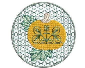 Pumpkin Flower Stamped Machine Embroidery Design -4x4 hoop, pumpkin embroidery design, thanksgiving embroidery design, Halloween embroidery