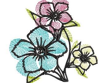 Sketch Flower Machine Embroidery Design, 4x4 hoop, Flower embroidery design, flower design, embossed embroidery design