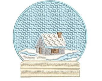 Snow Globe House Machine Embroidery Design, 4x4 hoop