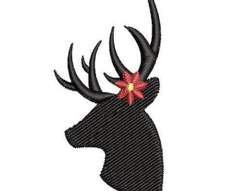Poinsettia Deer Silhouette Machine Embroidery Design, hunting embroidery design, deer embroidery design, hunter embroidery design
