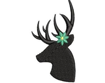 Flower Deer Silhouette Machine Embroidery Design, floral deer embroidery design, deer embroidery design, hunter embroidery design