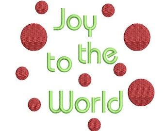 Joy To The World Polka Dot Christmas Machine Embroidery Design - Christmas embroidery design - christmas embroidery