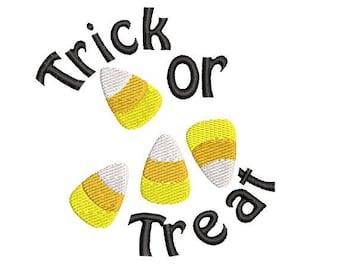 Halloween Trick or Treat Candy Corn Machine Embroidery Design, Halloween embroidery design