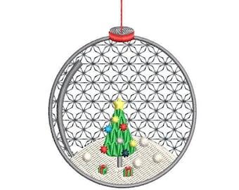 Christmas Tree Ornament Machine Embroidery Design, Christmas snow globe embroidery design, 4x4 hoop