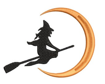Halloween Flying Witch and Moon Machine Embroidery Design - halloween embroidery design - Witch embroidery design - witch machine embroidery