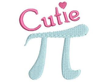 Cutie Pi Machine Embroidery Design 3.1415, pi embroidery design, teacher embroidery design, Pi Day embroidery, pi design, pi pattern