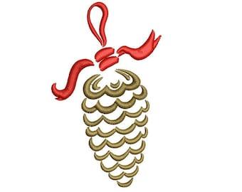 Swirl Pine Cone Christmas Machine Embroidery Design, 4x4 hoop