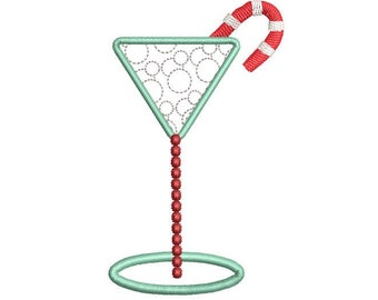 Christmas Cocktail Embroidery Design, Christmas drink with Candy Cane, Christmas towel design, 4x4 hoop