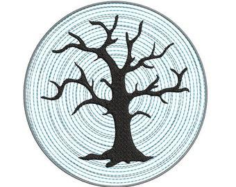 Spooky Halloween Dead Tree Machine Embroidery Design - halloween embroidery design - Tree embroidery design - Halloween machine embroidery