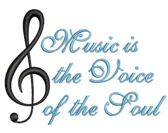 Music is the Voice of the Soul Machine Embroidery Design / music embroidery design, music machine embroidery, music embroidery pattern