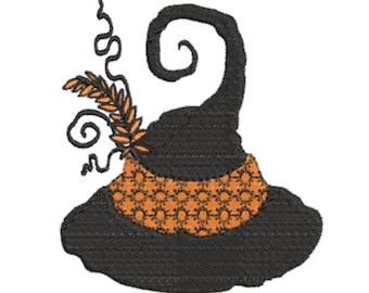 Witch's Hat Halloween Machine Embroidery Design, 4x4 hoop
