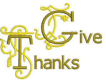 Give Thanks Thanksgiving Machine Embroidery Design, thanksgiving embroidery design, thanksgiving designs, give thanks embroidery design