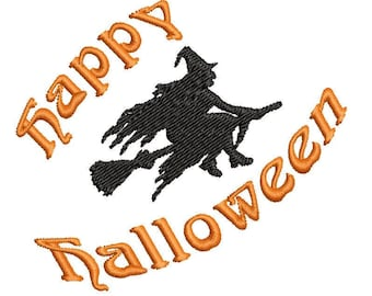 Happy Halloween Flying Witch Machine Embroidery Design - silhouette embroidery design -