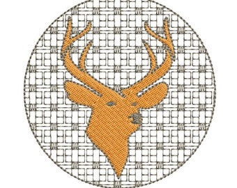 Plaid Deer Silhouette Machine Embroidery Design,  reindeer embroidery design, deer embroidery design, hunter embroidery design