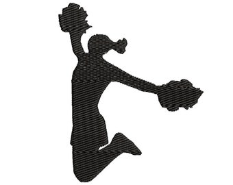 Cheerleader Machine Embroidery Design, Cheerleading machine embroidery, Cheer Silhouette embroidery design, Competitive Cheer design