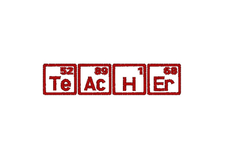 Teacher Machine Embroidery Design Periodic Table of Elements image 0