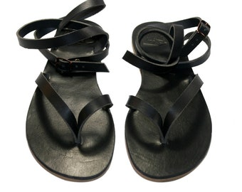 65ccdc1a9 Black Swell Leather Sandals for Women   Men - Handmade Leather Sandals