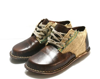 Dark Brown Leather and Utah Derby Shoes for Men & Women - Anatomic Collection - Handmade by WalkaholicS