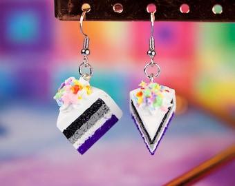 Kawaii LGBT+ Ace Pride Flag Cake Earrings w/Frosting and Sprinkles