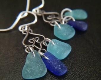 Cobalt Blue + Teal Sea Glass    Sterling Chandeliers    Sea Glass Jewelry    Sea Glass Earrings