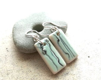 Mismatched Mint + Abstract Lines    Sea Tile Earrings    Sea Pottery    Eco Friendly Earrings    Genuine Beach Found Ceramic    Size SMALL
