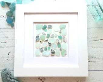Striped Teal Collection   Sea Glass Art   Beach Mosaic   Genuine Sea Glass   Beach Art   Ocean Lover Gift   Actual Pieces Of Sea Glass