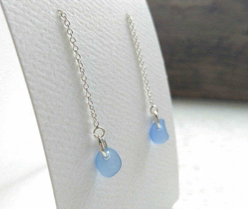 Cornflower Blue Sea Glass Earrings Strand Earrings Sterling Silver SeaGlass Earrings Beach Glass Ocean Jewelry Blue Sea Glass