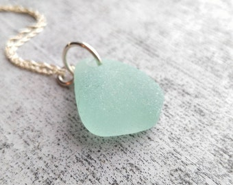 Sea Foam// Sea Glass Necklace// Sterling Silver Chain