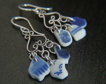 Blue + White Sea Pottery    Sterling Chandeliers    Sea Glass Jewelry    Sea Glass Earrings