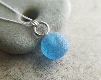 Demin Blue    Sea Marble Necklace    Genuine Sea Glass    Sea Glass Jewelry    Sterling Silver