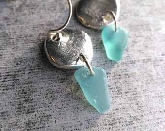 Teal / Sea Glass Earrings / Genuine Sea Glass / SeaGlass Jewelry / Bridesmaid Jewelry / Beach Jewelry / Beach Earrings / Silver / Boho