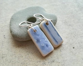 Mismatched Blues    Sea Tile Earrings    Sea Pottery    Eco Friendly Earrings    Genuine Beach Found Ceramic    Size SMALL