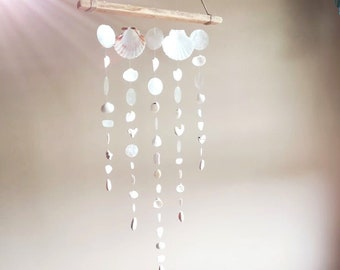 Seashell Suncatcher    Genuine Sea Glass    Sea Shells    Sea Glass Art    Beach Mobile    Size LARGE