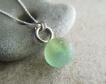 Hawaiian Punch    Sea Marble Necklace    Genuine Sea Glass    Sea Glass Jewelry    Sterling Silver