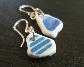 Mismatched Blues    Sea Pottery Earrings    Genuine    Sterling Silver