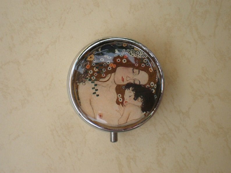 Pill case Jewelry box Klimt art pill box The Mother and Child Mint case Gustav Klimt Pill container