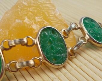 Jade Green Mid Century Peking Glass Link Bracelet