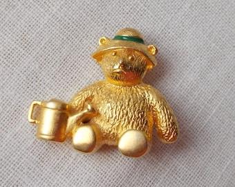 Gold Gardening Teddy Bear Pin  1544
