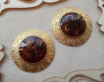 SUMMER SALE!   Vintage Large Round Brown, Black, and Gold Enamel Post Earrings  1718