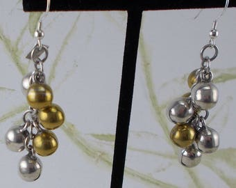 Vintage Mexican Sterling Silver Cluster Dangle Earrings   1916