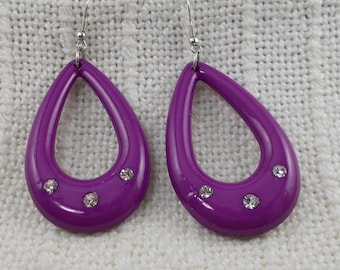 Huge Open Teardrop Purple Plastic Earrings With Clear Rhinestones   4785