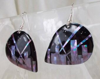 SUMMER SALE!  Guitar Pick Domed Black Dangle Earrings with Glittery Reflective Rainbow Skyline