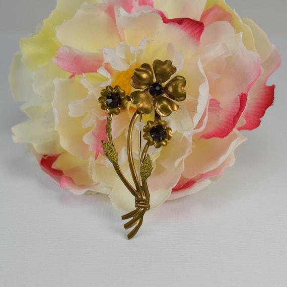 Art Nouveau Style Brass Flower Bouquet Brooch Etsy