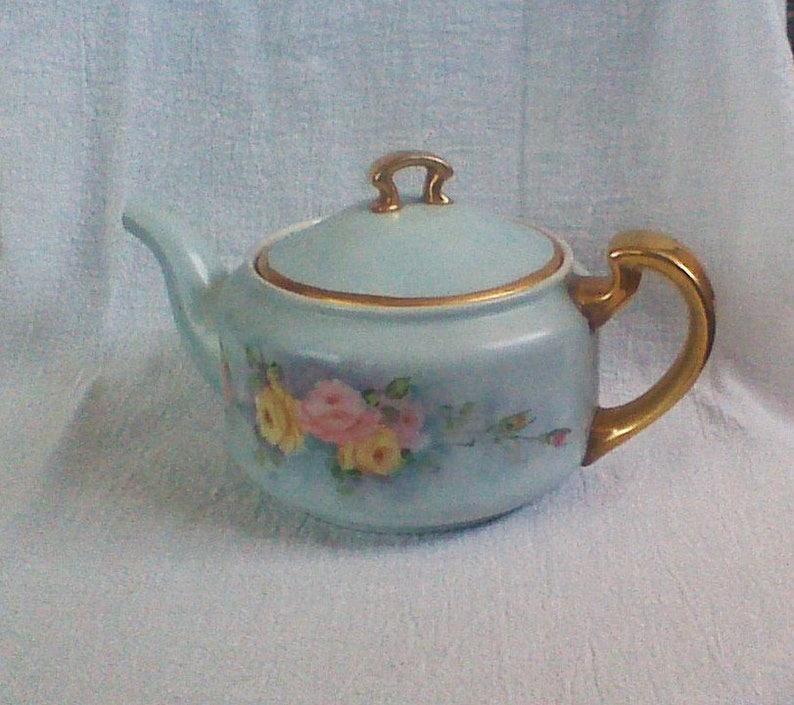 Vintage Small Blue Gold Trim Teapot with Floral Design Gold Trim Japan