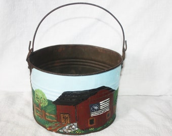 Vintage Metal Pail with Old Barn Folk Art Painting