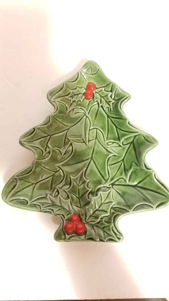 Lefton Christmas Tree Candy Dish Holly Leaves And Berries Vintage Christmas Decorations Decor Serving Dish