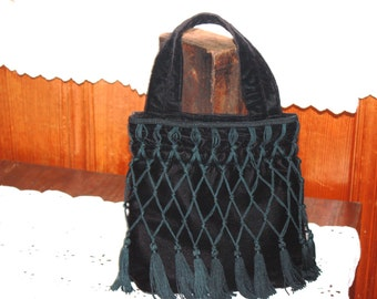 Vintage Fringed Black Velvet Purse