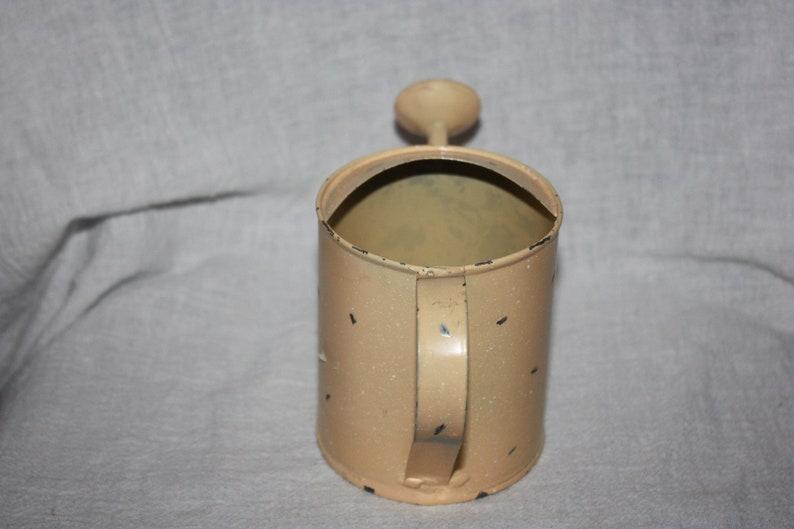 Vintage Small Cream Color Silver Specks Watering Can