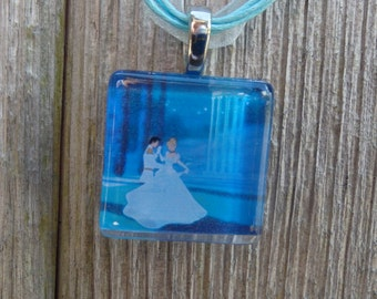 Disney Love Cinderella and Prince Charming Glass Pendant and Ribbon Necklace