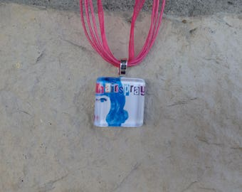 Broadway Musical Hairspray Glass Pendant and Ribbon Necklace